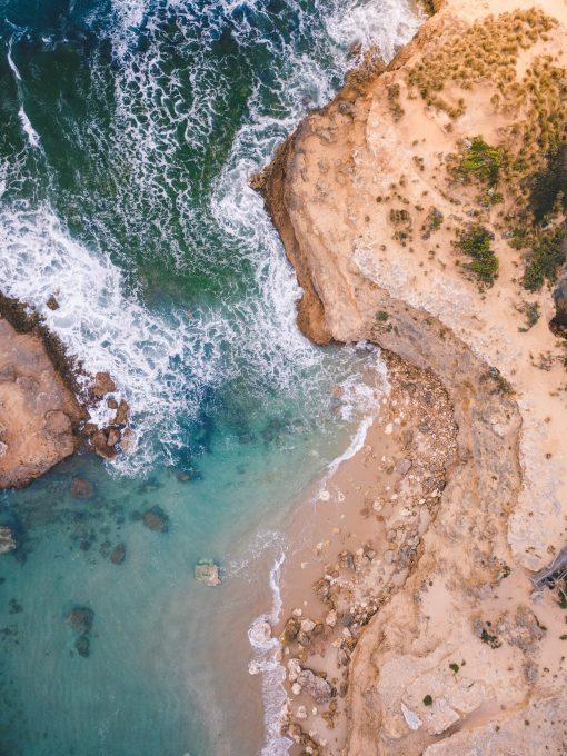 Aerial view of ocean coast