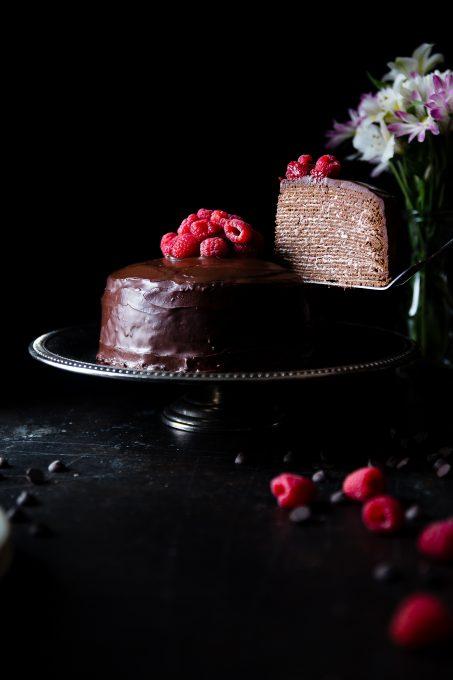Chocolate cake with raspberries free stock photo