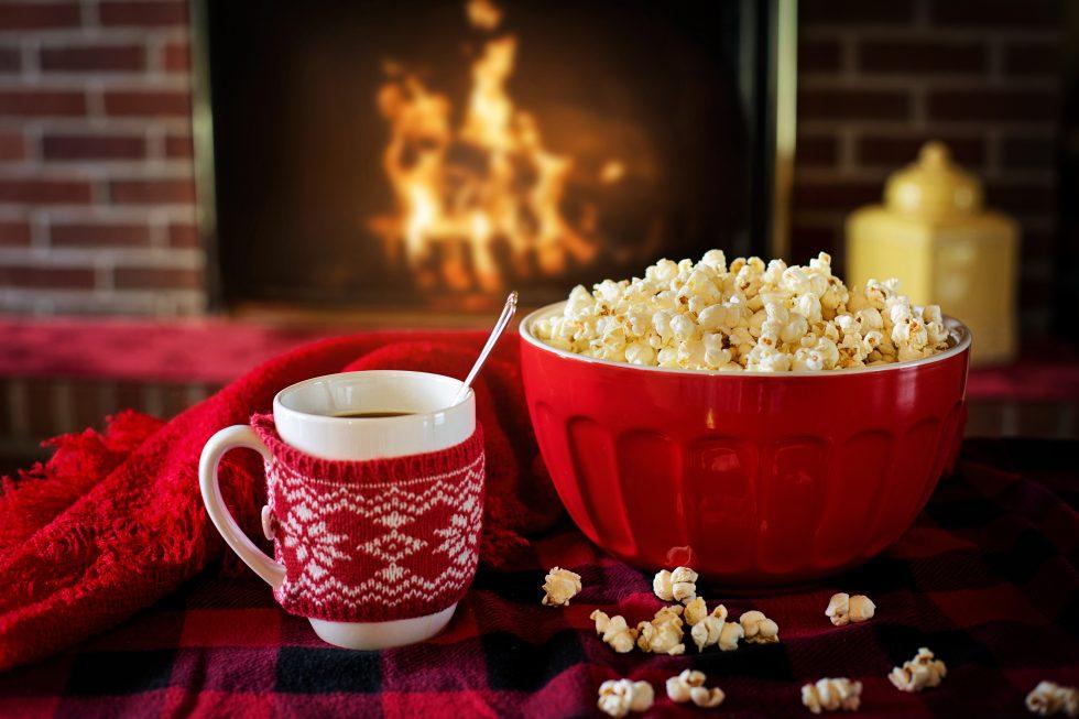 Christmas popcorn and coffee free photo