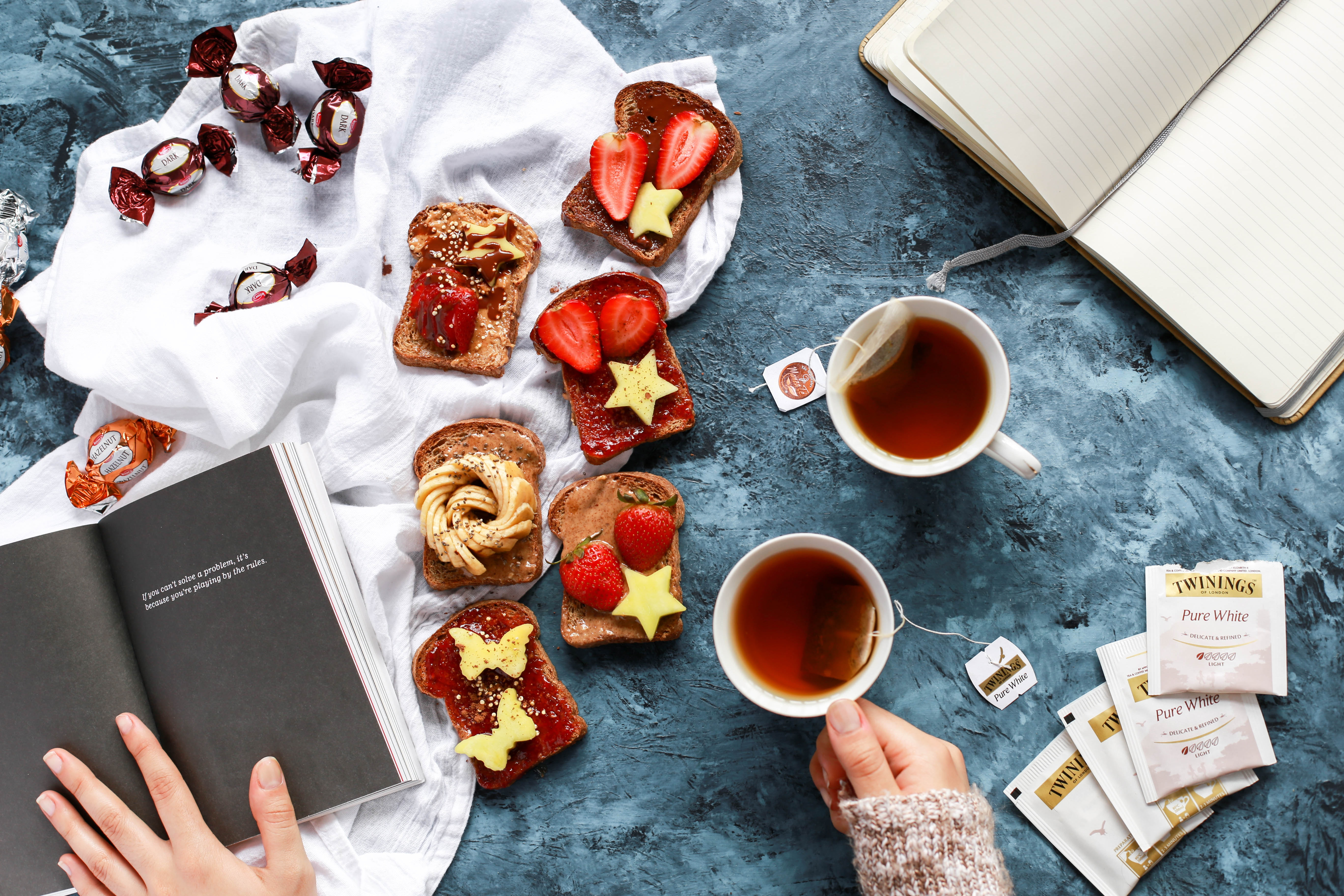 Flat-lay toasts and tea free stock photo