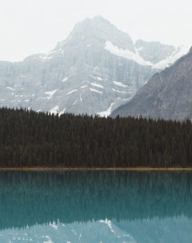 Morning view on lake and mountain in Alberta