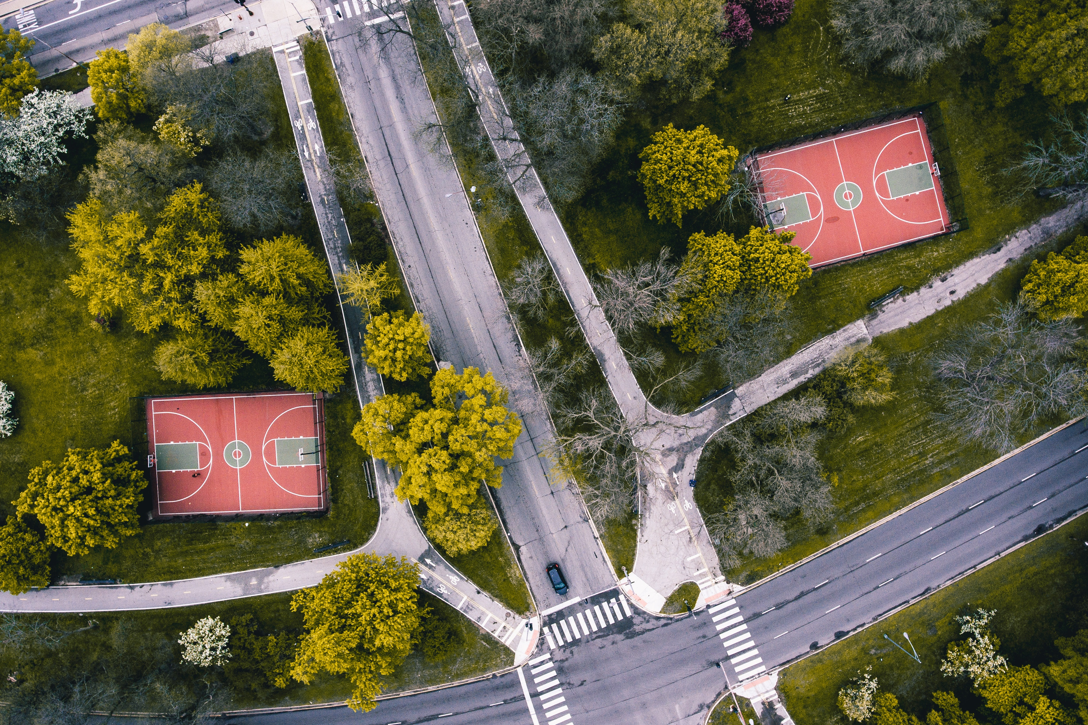 Aerial photo of two red basketball courts
