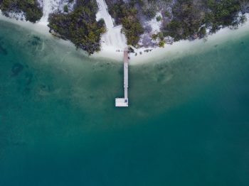 Aerial photography of a dock on body of water