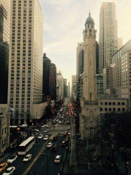 City streets between skyscrapers