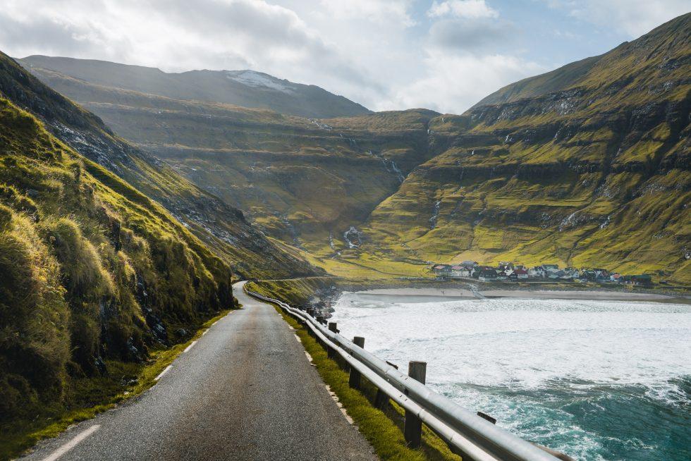 Concrete road beside the sea