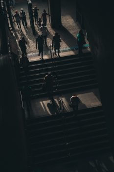 People walking on stairs