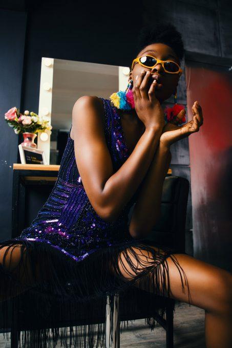Photo of a woman wearing a funky dress