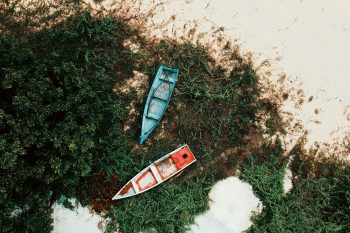 Top view of red and blue boats placed on grass growing on a sandy shore