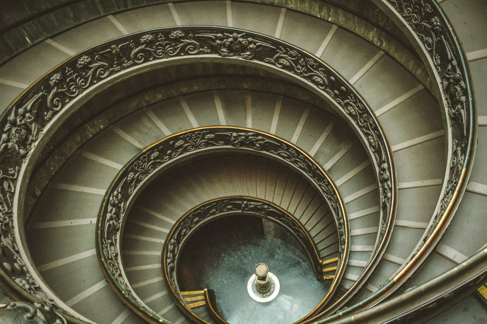 Top view of the monumental spiral staircase of Vatican Museum