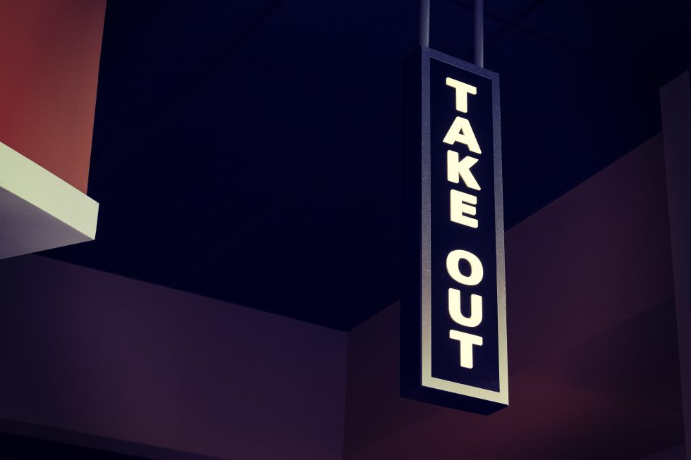 "White led ""TAKE OUT"" signage hanging"