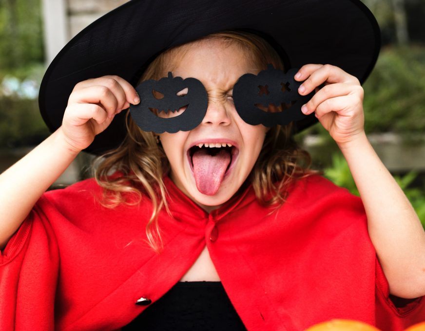A girl wearing Halloween costume