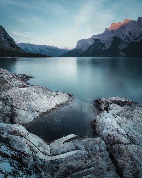 A lake near mountains