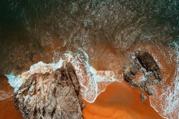 Bird eye's view of sea stacks