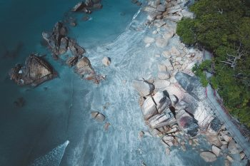 Bird's eye photography of an island and trees