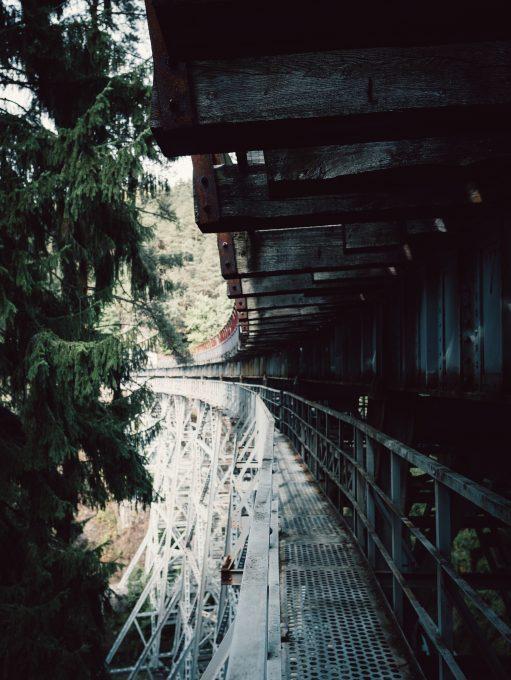 Close-up photography of a metal bridge