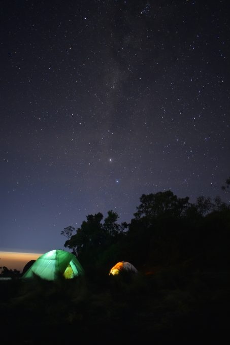 Green and orange dome tents surrounded by trees under a night sky
