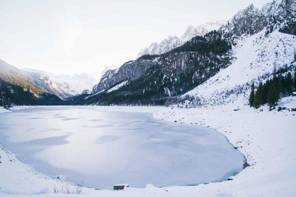 Landscape photo of a lake surrounded with snow
