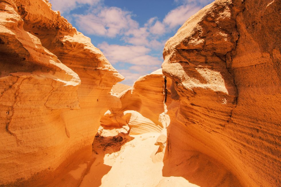 Landscape photography of geological formation in a desert