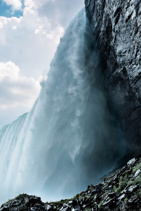 Low angle photography of a waterfall
