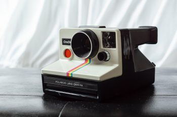 White and black Polaroid Land camera