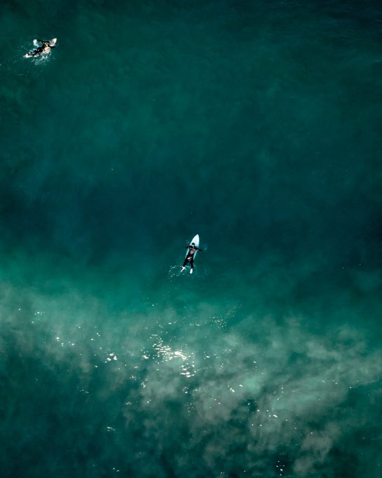 Aerial photo of people swimming on surfboards