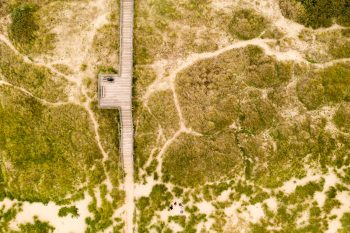 Aerial photography of a boardwalk among green grass