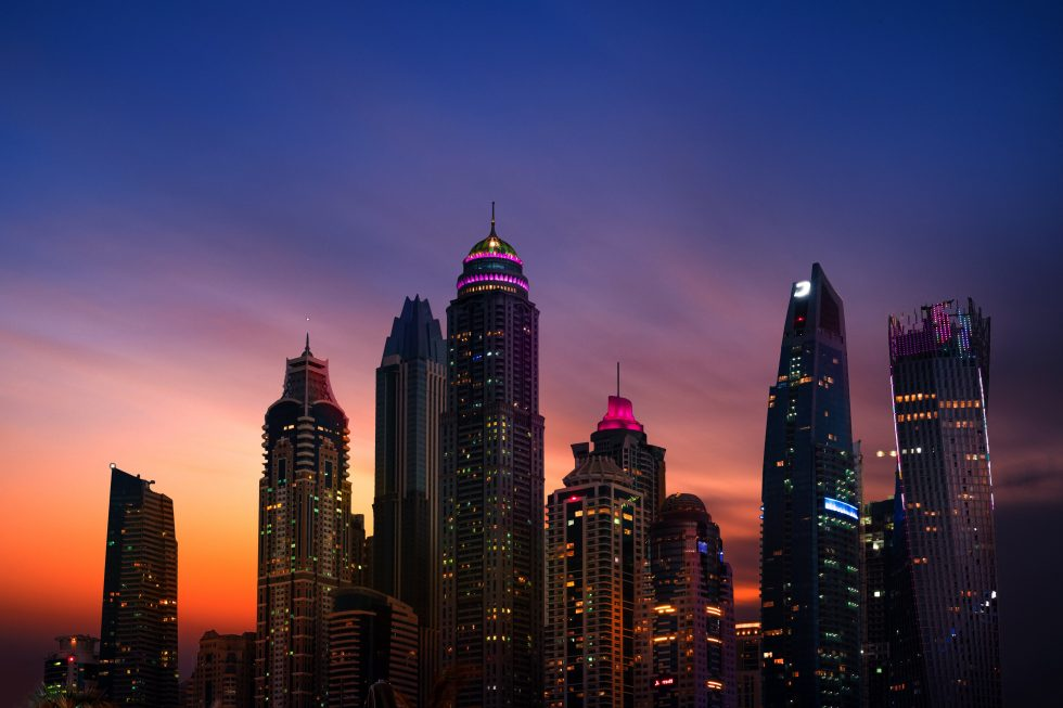 City buildings during dusk