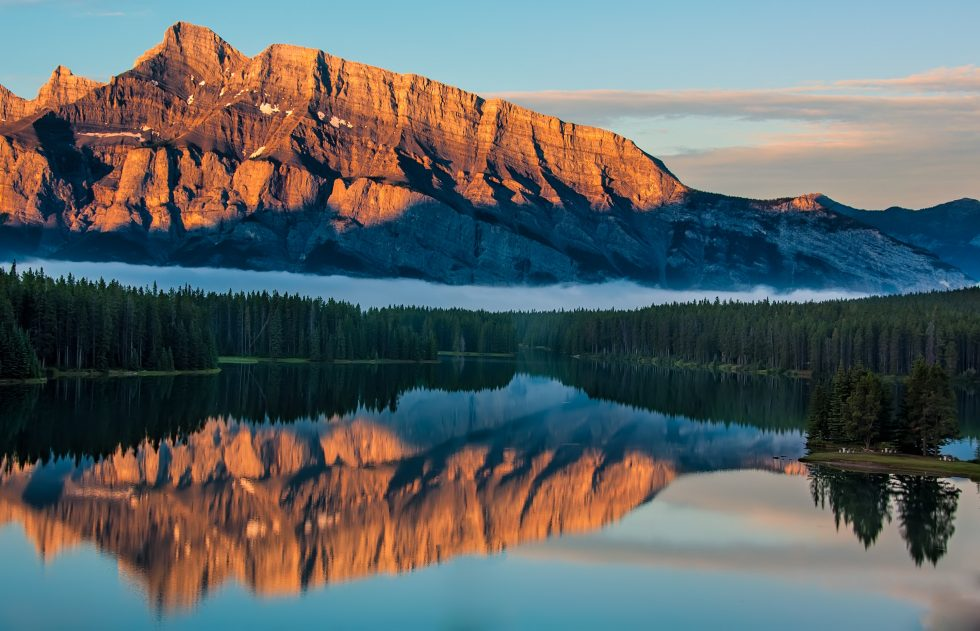 Landscape photography of mountain reflected in the water