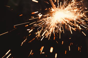 Close-up photo of a lighted sparkler