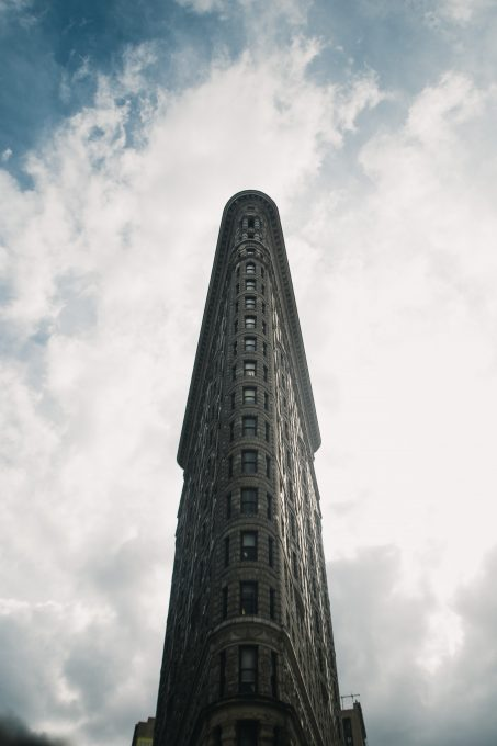 Low angle photo of a skyscraper