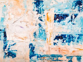 A beige and blue abstract painting