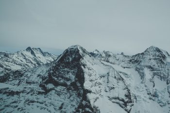 A mountain covered with snow