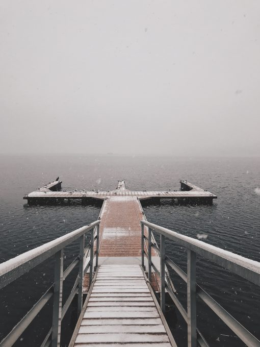 A white and brown dock during cloudy day