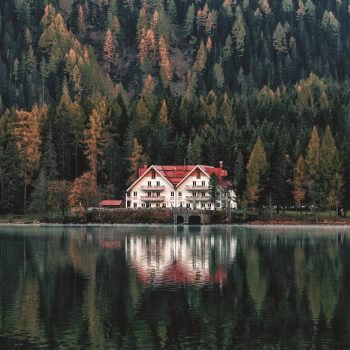 A white and orange house beside a forest and body of water