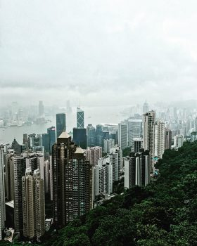 Aerial photography of a city during a cloudy day