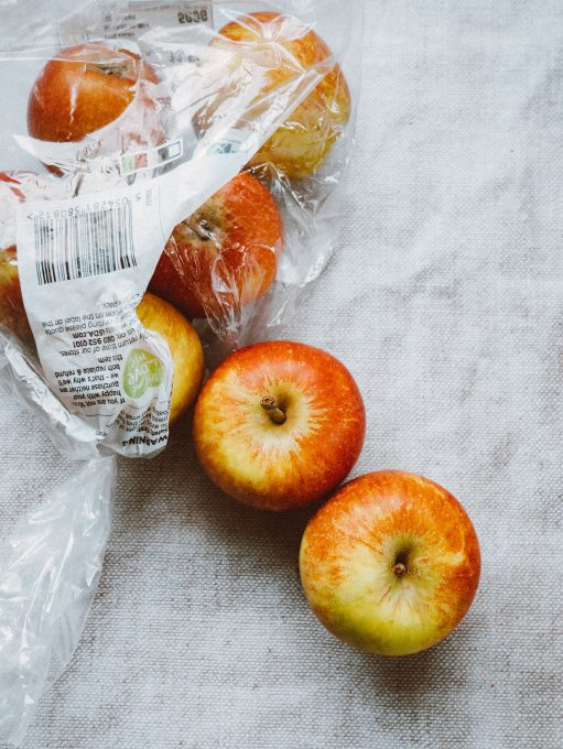 Apples in a plastic