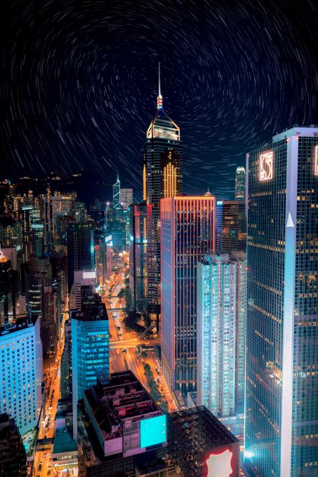 High-rise buildings with lights