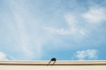 Low-angle photo of a person lying on a building