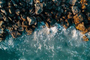Mossy rocks by the ocean