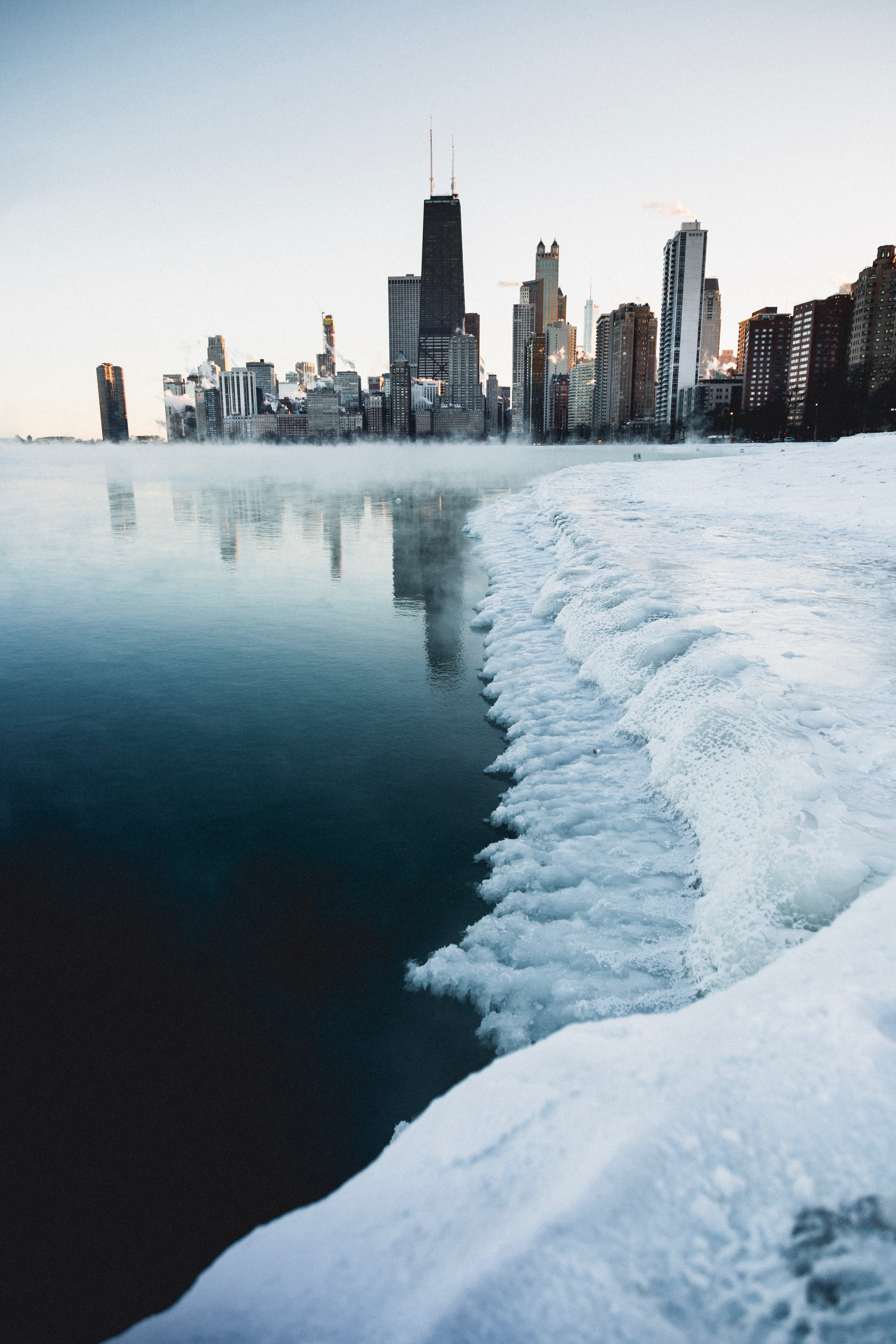 Photo of a city during winter