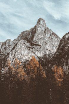 Photo of a gray mountain