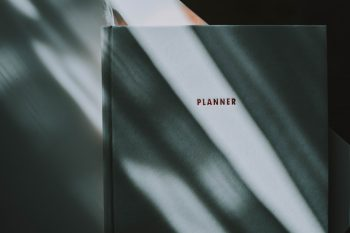 Photo of a white planner book