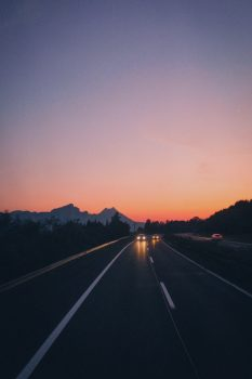 Scenic view of a road during dawn