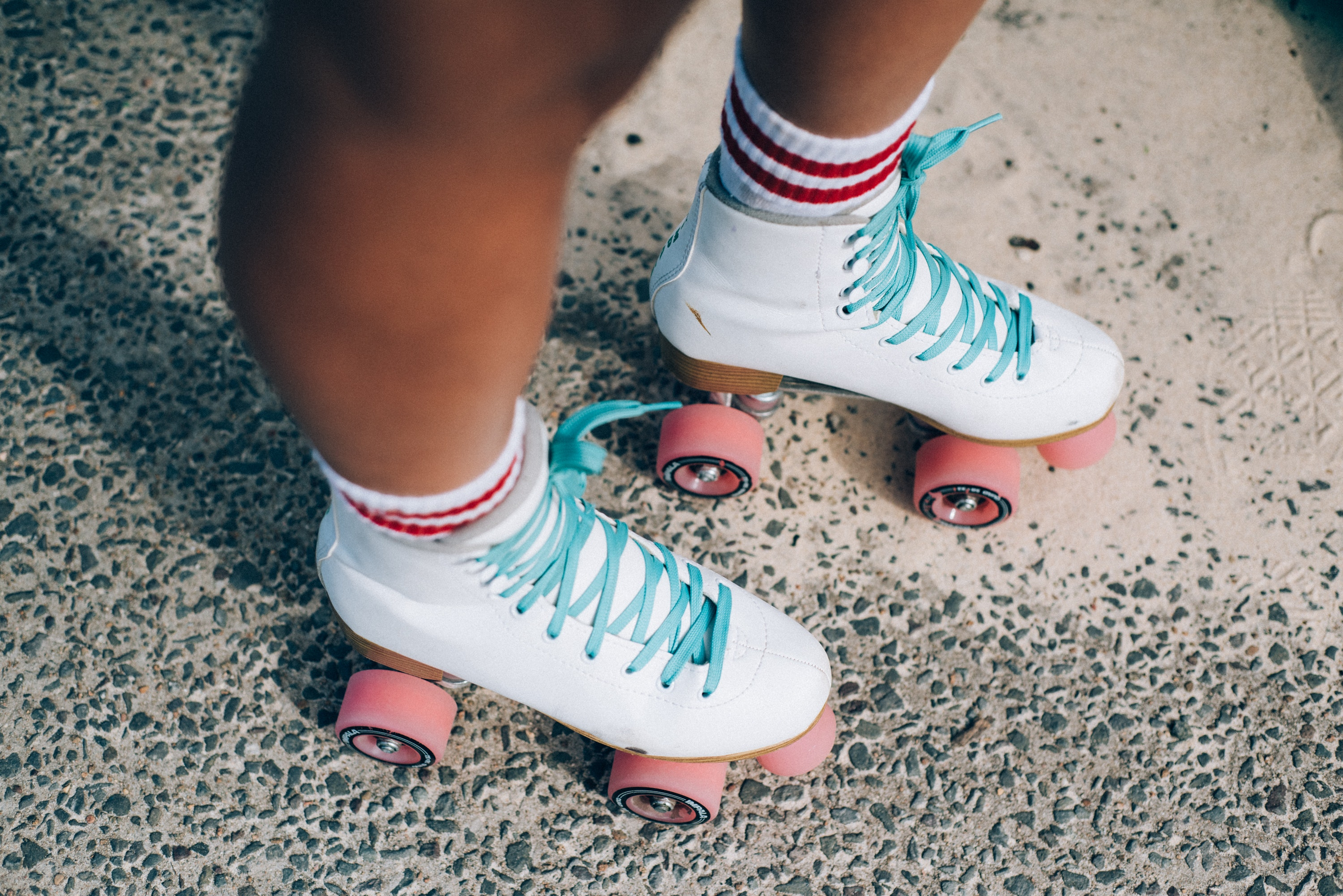 White-and-red roller skates