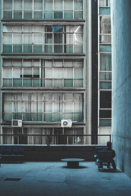 A gray and black concrete building