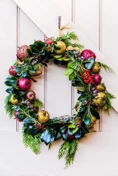 A green and red Christmas wreath