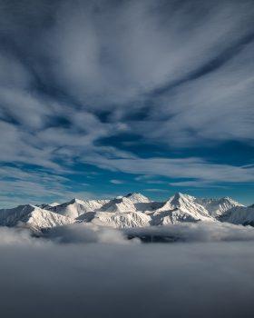 A mountain during the winter season