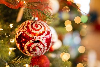 A red and white Christmas bauble