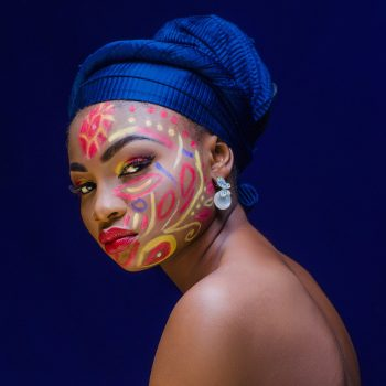 A woman with face paint
