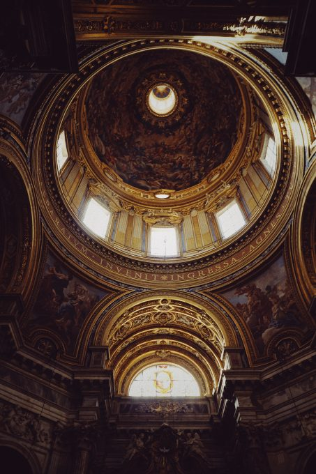 Architectural photography of a cathedral ceiling